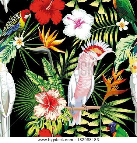 Tropic exotic multicolor birds parrot macaw with tropical plants banana palm leaves flowers Strelitzia hibiscus on a black background. Print jungle seamless vector pattern