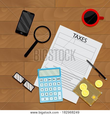 Financial illustration top view. Wallet and tax form vector