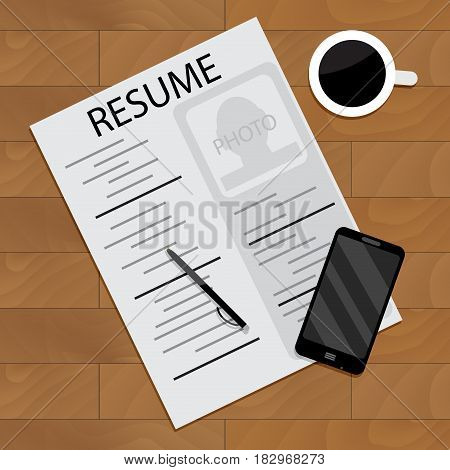 Hired and employment view unemployment wood table vector illustration
