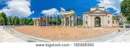 Huge wide panorama view of Arco della Pace, Porta Sempione, colorful sunny day in Milan Italy Traveling Sightseeing Destination Summer Blue Sky Outdoors Beautiful Monument Architecture