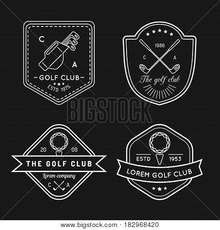 Vector golf logo set. Sports club linear illustrations collection for icons, badges and labels
