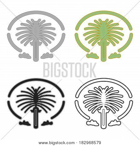 The Palm Jumeirah icon in cartoon style isolated on white background. Arab Emirates symbol vector illustration.