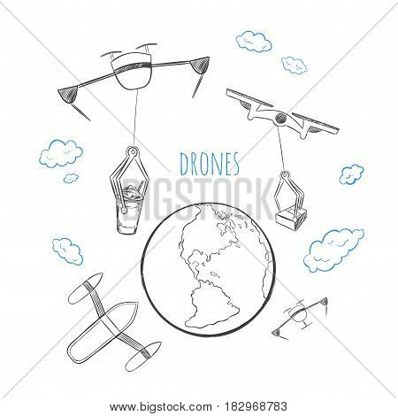 Sketch future technology delivery concept with drones and quadcopters transporting different products above earth isolated vector illustration