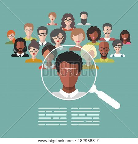 Vector concept of human resources management, professional staff research, head hunter job with magnifying glass. HR illustration in flat style. Male and female faces app icons.
