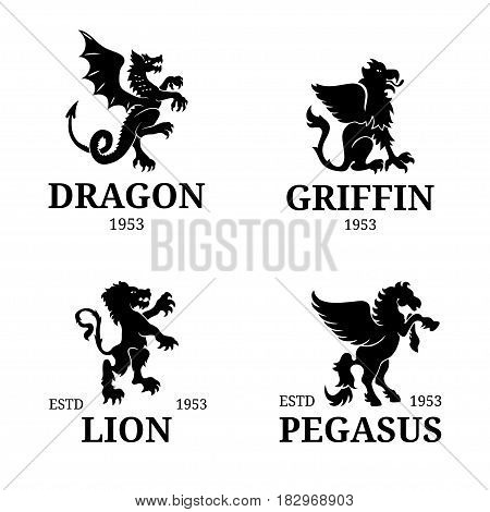 Vector monogram templates. Luxury pegasus, lion etc design. Graceful animals silhouettes illustration. Used for hotel, restaurant, boutique, jewellery, business card etc.
