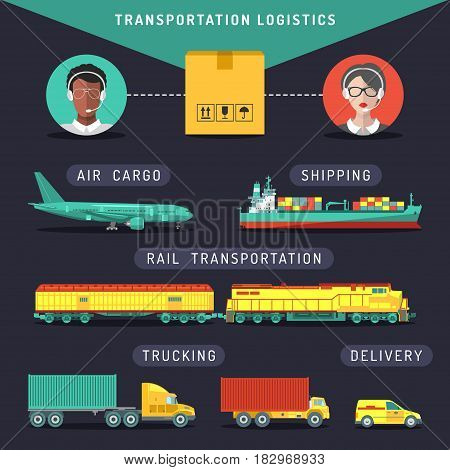 Vector transportation logistics concept. Sea, air, rail carriage, trucking services management infographics in flat style. Shipping icons set. Freight illustration.