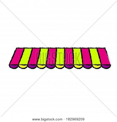 striped awning icon over white background. vector illustration