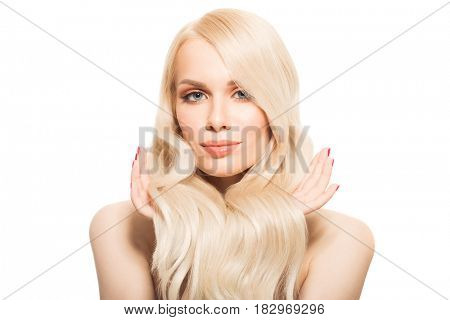 Portrait Of Beautiful Young Blond Woman With Long Wavy Hair. Isolated.