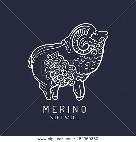 Merino sheep logo, label. Vector ram illustration. Ewe soft wool sign. Fleece icon background