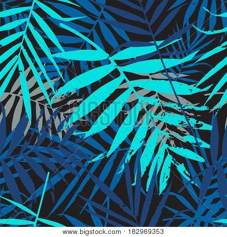 Tropical palm leaves jungle leaves seamless vector floral pattern. Seamless exotic background with tropical blue leaves. Vector illustration.