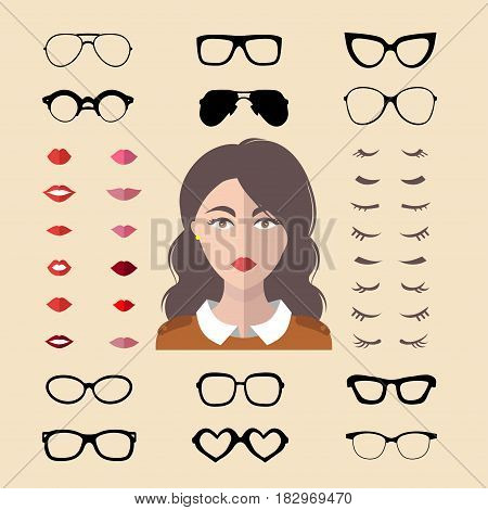Big vector set of dress up constructor with different woman eyelashes, glasses, lips in trendy flat style. Flat female faces icon creator.