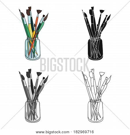 Paintbrushes for painting in the jar icon in cartoon style isolated on white background. Artist and drawing symbol vector illustration.