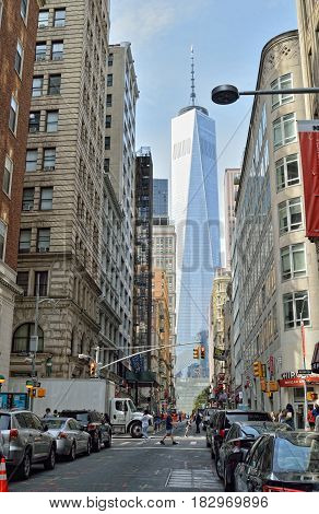 New York City USA - September 21 2016: NYC streets. Lower Manhattan - Fulton Street with Freedom Tower.