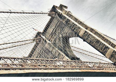 Tower of Brooklyn Bridge - looking up.