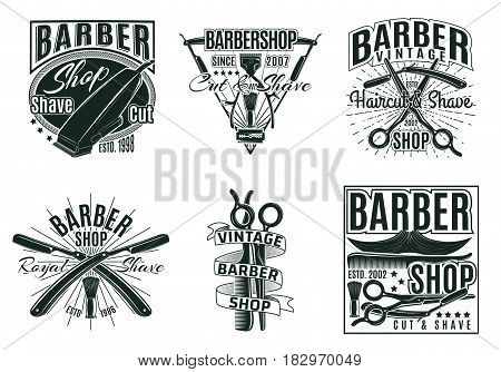 Vintage hair saloon labels set with  inscriptions barber haircut and shaving tools and accessories isolated vector illustration poster