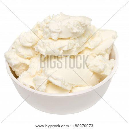 mascarpone cream cheese in glass bowl on white background