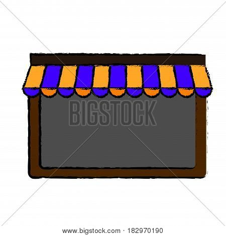 window with striped awning icon over white background. colorful design. vector illustration