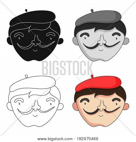 Self-portrait of artist icon in cartoon style isolated on white background. Artist and drawing symbol vector illustration.