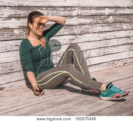 Fitness Sporty Girl Resting After Exercising