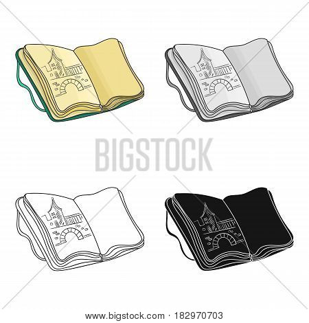 Sketchbook with drawings icon in cartoon style isolated on white background. Artist and drawing symbol vector illustration.
