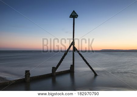 Beautiful Vibrant Spring Sunset Long Exposure Beach Landscape