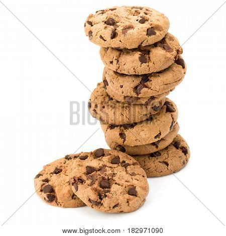 Stacked Chocolate chip cookies isolated on white background. Sweet biscuits. Homemade pastry.