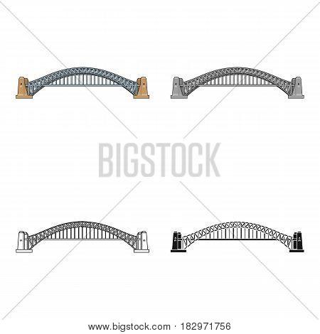 Sydney Harbour Bridge icon in cartoon design isolated on white background. Australia symbol stock vector illustration.