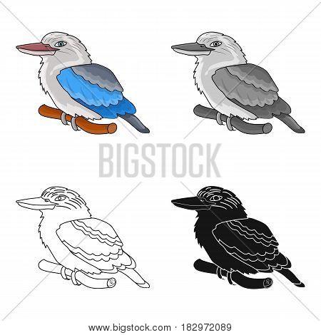 Kookaburra sitting on branch icon in cartoon design isolated on white background. Australia symbol stock vector illustration.
