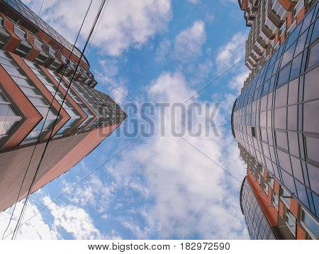 disappearing glass buildings in the morning wide angle view reflection abstract view