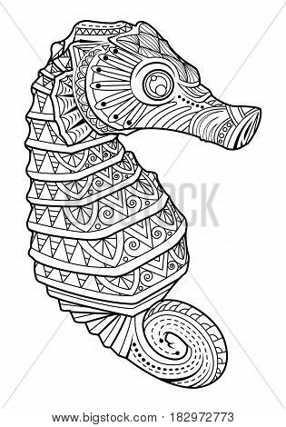 Hand drawn sea horse style for coloring page logo tattoo vector illustration.