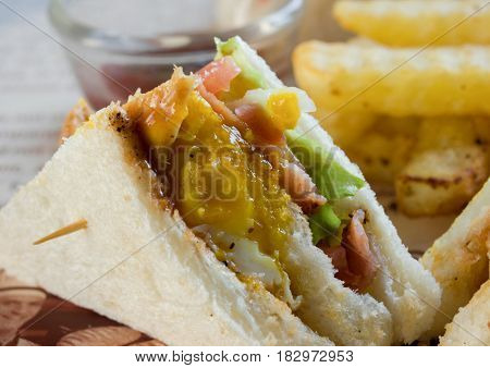 COLOR PHOTO OF CLUB SANDWICH ALSO CALLED CLUBHOUSE SANDWICH