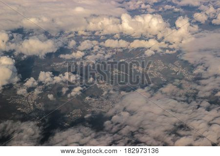 Aerial view from above beautiful fluffy clouds