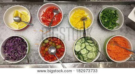 Salad bowls on ice