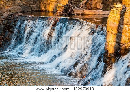 Spillway waterfall closeup in the Lullwater Park Atlanta USA