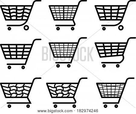 Shopping Cart Icon  Raster Illustration