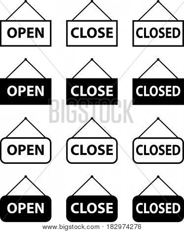 Open and Close Icon  Raster Illustration