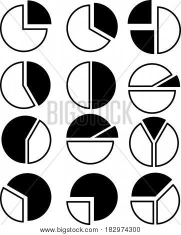 Pie Chart Icon Set  Raster Illustration