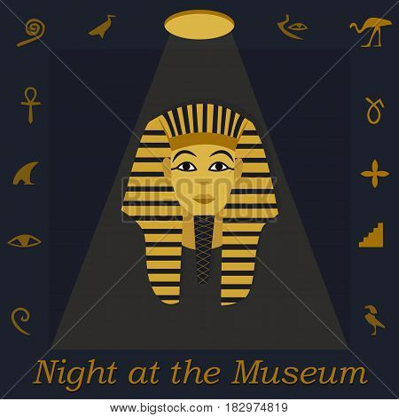 Illustration for the Night at Museum with Tutankhamen portreit, hieroglyph and text