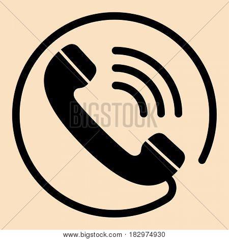 Telephone Receiver Icon  Raster Illustration