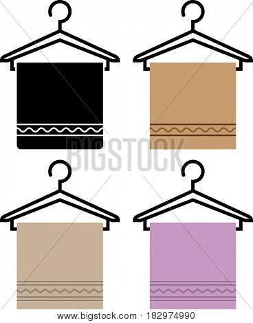 Towel On Hanger Icon  Raster Illustration