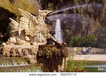 Griffin fountains at Citadel park (Parc de la Ciutadella) in Barcelona Spain