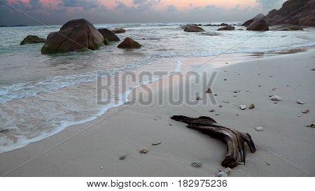 Sunrise on the beach in the bay of Koh Samui