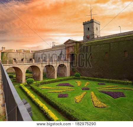 View of the entrance to the castle of Montjuic located on Montjuic mountain in Barcelona Catalonia Spain