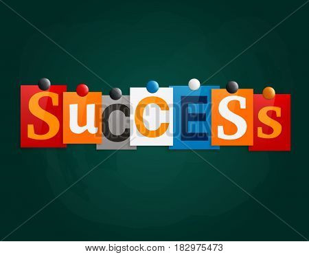 The word Success made from newspaper letters attached to a blackboard or noticeboard with magnets.