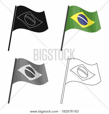 Flag of Brazil icon in cartoon design isolated on white background. Brazil country symbol stock vector illustration.