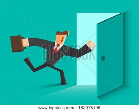 Businessman running in the open door. Vector illustration