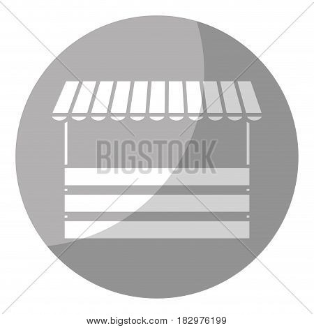 store with striped awning icon over gray circle and white background. vector illustration