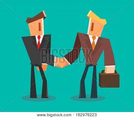 Businessmen shaking hands. successful deal concept. Vector illustration