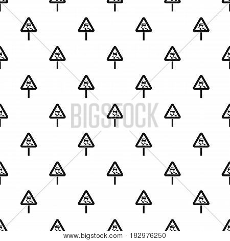 Slippery when wet road sign pattern seamless in simple style vector illustration