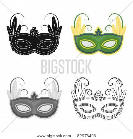 Brazilian carnival mask icon in cartoon design isolated on white background. Brazil country symbol stock vector illustration.